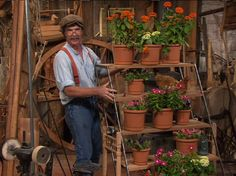 Roy Underhill of the Woodright's Shop with tiered plant stand.