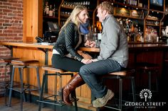 Kristin & Matthew stop in one of their favorite bars.  Visiting a place you often go to is a great idea!