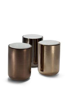 bronze finish side table/stools