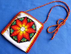 Mexican Huichol Beaded Bag Necklace by Aramara on Etsy, $14.50