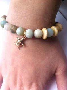 Beach Bead Bracelet with a Turtle Charm - Beach Jewelry - Natural Stone - Gemstones