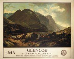 Glencoe Scotland, LMS Vintage Railway Travel Poster Art Print