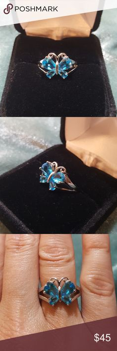 Blue Topaz Butterfly ring, sz 6 Precious Blue Topaz Butterfly set in .925 Sterling Silver. I almost didn't put it up for sale, I fell in love in with so fast! The simplicity of this sz 6 ring is so clean and classy. Jewelry Rings