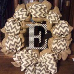 Burlap and chevron initial wreath - spring wreath, summer wreath