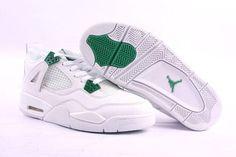 Air Jordan IV (2004) - White/Chrome Green colorway. Air Jordan Iv, Air Jordan Shoes, Air Max 97, Nike Air Max, Retro Shoes, Grey And White, Sneakers Nike, Green, Chrome