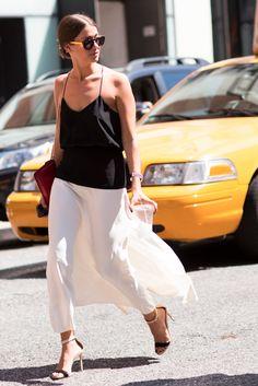 black cami + flowy white skirt
