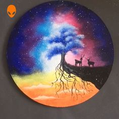 Deer Paintings For Home Decor - Malen Tutorial Videos Night Sky Painting, Galaxy Painting, Love Painting, Learn Painting, Deer Paintings, Home Decor Paintings, Easy Paintings, Beginner Art, Beginner Painting