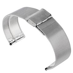 Fashion Luxury 20/22mm Hook Buckle Men Silver Stainless Steel Mesh High Quality + 2 Spring Bars Wrist Band Strap  #Affiliate