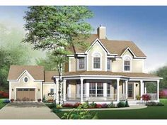 Um...this is pretty much the perfect house. I want it! Big porch, detached garage, country setting....a girl can dream!