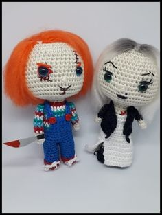 Chucky and Tiffany Amigurumi Pattern - Darth Makers Diy Crochet, Crochet Crafts, Crochet Hooks, Crochet Projects, Crochet Ideas, Halloween Crochet Patterns, Crochet Doll Pattern, Hello Kitty Crochet, Creepy Toys