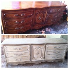 Annie Sloan Chalk Paint - Dresser before & after - Coco & Old White.  Pretty sure my parents had this dresser when I was growing up, wish I had it now - Love!!!