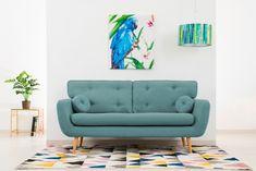 Canapea Fixa 3 locuri Malva Aqua sky #homedecor #interiordesign #inspiration #blue #livingroom #livingroomdecor Aqua, Love Seat, Living Room Decor, House Design, Couch, Pastel, Interior Design, Retro, Inspiration
