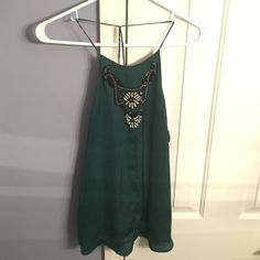 Beaded emerald green low back top by ZARA small Love this top. Worn once but straps are too long on me. Absolutely stunning top. Small mark near neckline but can't notice when wearing Zara Tops Tank Tops