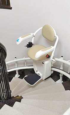 Eliminate The Barrier Of Stairs With Savaria Stairfriend Stairlift Reliable Stairfriend Curved Stairlift To Resolve Yo Seat Design Stair Lifts Outdoor Stairs