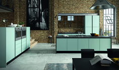 Matt dust green composition with 146,3 cm thick columns unit and island, dark brown c-channel and plinth.