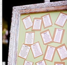 Ivory-and-brown cardstock printed with guests' names, separated by table, were pinned to a board in an antique frame. This is really cute.