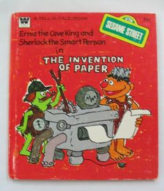 SESAME STREET Invention of Paper, Vintage Whitman Tell-A-Tale, by Daniel Wilcox, 1975.