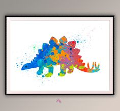 Dinasour Colorful , Nursery Poster, Watercolor Printing for, Chidren's  Room  Wall Decor. Wild Life Animal Poster A560 by LilytheLovely on Etsy https://www.etsy.com/listing/227194005/dinasour-colorful-nursery-poster