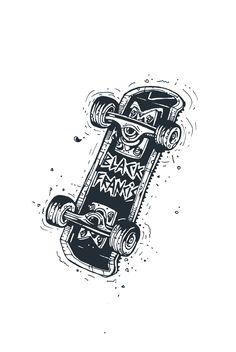 Dark skateboard deck