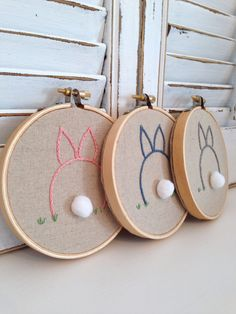 hand embroidered bunny . nursery decor . personalized embroidery . made to order . made to match . cute bunny embroidery . baby shower