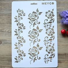 DIY Craft Flower Layering Stencils For Walls Painting Scrapbooking Stamping Stamps Album Decorative Embossing Paper Cards Stamp Drawing, Drawing Stencils, Stencil Painting, Fabric Painting, Wall Stenciling, Stencil Rosa, Rose Stencil, Stencil Diy, Craft Stencils