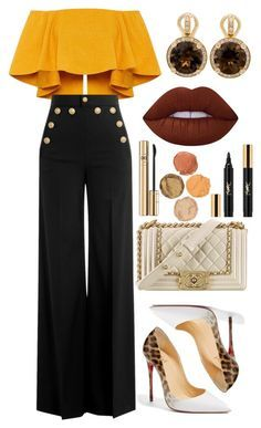 A fashion look from October 2016 featuring RED Valentino pants, Christian Louboutin pumps and Chanel handbags. Browse and shop related looks. Mode Chic, Mode Style, Classy Outfits, Stylish Outfits, Look Fashion, Womens Fashion, Fashion Trends, Classic Fashion, Looks Party
