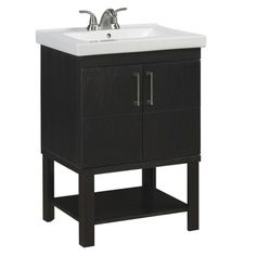 Shop allen + roth Foley 24-in x 19-1/4-in Espresso Undermount Single Sink Bathroom Vanity with Vitreous China Top at Lowes.com