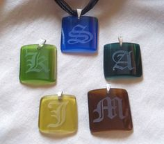 Recycled Wine Bottle Jewelry: Pendants are hand cut, polished, and etched. [Groovy Green Glass]