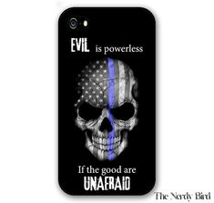 Thin blue line American Flag Skull and quote by TheNerdyBird2