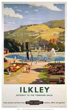 1957 British Railways LNER Poster of ILKLEY Gateway to the Yorkshire Dales by artist Frank Sherwin 1896 - 1986 This poster is printed using only Posters Uk, Train Posters, Railway Posters, A4 Poster, Poster Prints, Art Prints, British Travel, National Railway Museum, Travel Ads