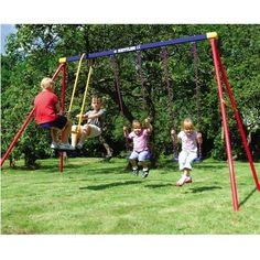 Deluxe Multi-Play Swing Set by Kettler Toys Are you looking to improve your child's backyard play experience? The Deluxe Multi-Play Swing Set grants you Play Swing Set, Metal Swing Sets, Backyard Play, Outdoor Play, Backyard Ideas, Family Leisure, Chair Pictures, Baby Swings, High Carbon Steel