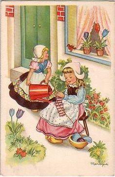 Dutch Girls Knitting ~ by Vintage Knitting Vintage Greeting Cards, Vintage Postcards, Vintage Pictures, Vintage Images, Knit Art, Thinking Day, Children's Book Illustration, Book Illustrations, Vintage Knitting