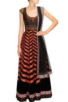 Black and Golden Anarkali Suits – Panache Haute Couture