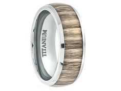Nestor Mens Domed Titanium Ring With Real Ashen Zebra Rosewood Inlay 8mm - Select Wedding Rings