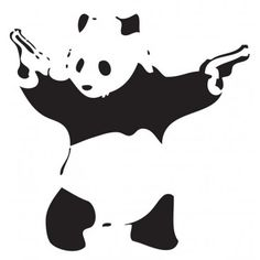 BANKSY PANDA    Always witty and thought provoking this is your chance to add a bit of Banksy graffiti to your car in the form of this iconic, gun toting panda sticker.