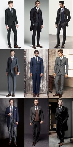 Brown Shoes With Grey, Navy And Black Suits - Outfit Inspiration Lookbook