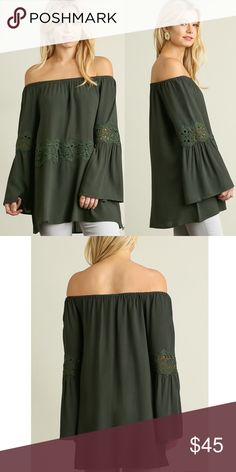 """🆕SOPHIA off shoulder bell sleeve tunic - GREEN Off Shoulder Bell Sleeved Tunic with Lace Details  *HEIGHT OF MODEL: 5'8"""" / SIZE: SMALL 🚨NO TRADE, PRICE FIRM🚨 Bellanblue Tops Tunics"""