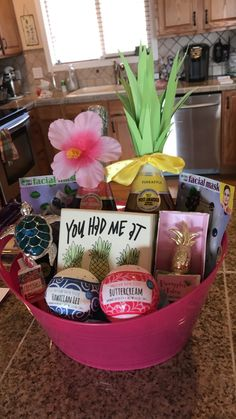 Hawaii Themed 21st Birthday Gift Basket Bath Bombs Pineapple Champagne Facemasks Turtle Giftidea Hawaiiangift