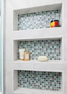 Built in Shower shelves Beach Bath - eclectic - bathroom - other metro - In Detail Interiors Bathroom Renos, Small Bathroom, Master Bathroom, Downstairs Bathroom, Shower Shelves, Bathroom Shelves, Glass Shelves, Metal Shelves, Bathroom Wall