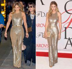26 Jahre Lebenserfahrung trennen Schauspielerin und Sängerin Jennifer Lopez (46) und Model Gigi Hadid (20) – doch in Sachen Style sind sich die beiden Fashionistas offenbar trotzdem einig, zumindest was diesen goldenen Jumpsuit von US-Designer Michael Kors betrifft. Doch wem steht der Look besser? Red Carpet-Queen J-Lo oder Red Carpet-Prinzessin Gigi?