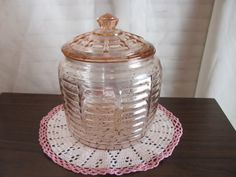 Cookie Jar / Biscuit Jar Pink Depression Glass Beehive Pattern by Hazel Atlas