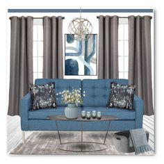 """Blue & Grey Decor"" by brendariley-1 ❤ liked on Polyvore featuring interior, interiors, interior design, hogar, home decor, interior decorating, Eclipse, Pillow Decor, Arteriors y Frontgate"