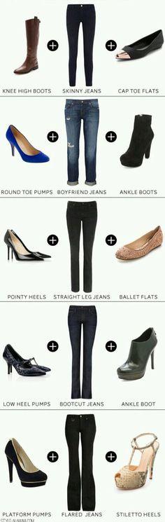 Tipos de pantalón y zapatos