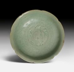 A rare Longquan lotus dish with the incised moon hare, China, Song dynasty (960-1279)