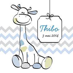 Zittende giraffe - Geboortekaartje  www.carddreams.be
