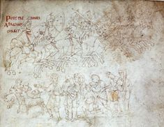 Abraham pursuing the predators, portrayed as 11th century French soldiers, Prudentius' Psychomachia 'Conflict Of The Soul' Lyon, Bibliotheque du Palais des Arts, Ms. 22
