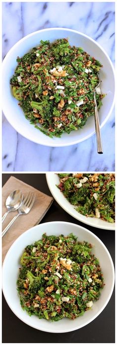 Quinoa with Roasted Broccoli and Arugula Salad ~ Easy Kitchen 4 All