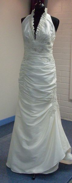 halter neck wedding dress ivory taffeta size 12 &16 in stock other sizes available