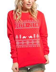 Delta Zeta Red Holiday Sweatshirt by Adam Block Design | Buy one for yourself or your sorority sisters today - no minimums | Custom Greek Apparel & Sorority Clothes