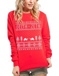 Delta Zeta - Red Holiday Sweatshirt